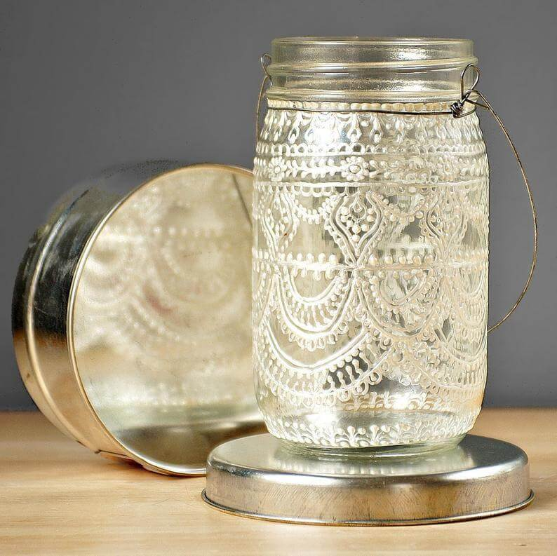 Lace Wrapped Mason Jar with Wire Handle on Silver Stand