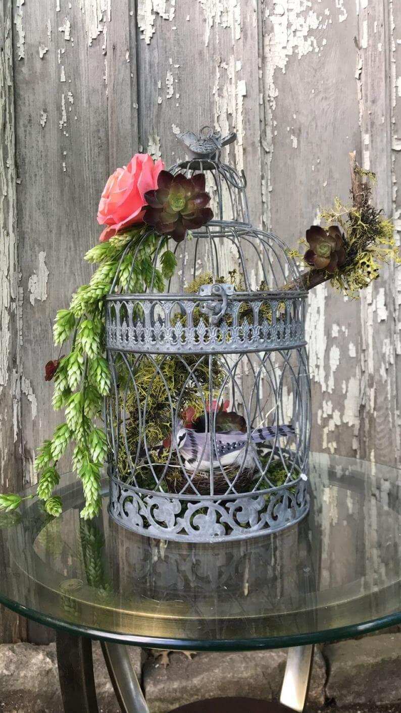 Gray Wire Bird Cage Holding Bird Nest Inside