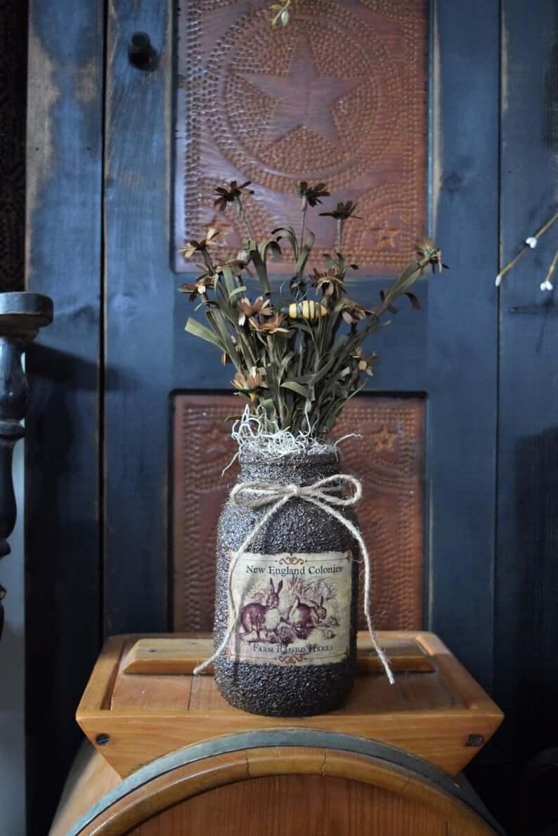 Vintage Easter Mason Jar Floral Arrangement