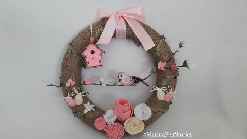 Felt Flowers and Pink Polka Dot Spring Twine Wreath