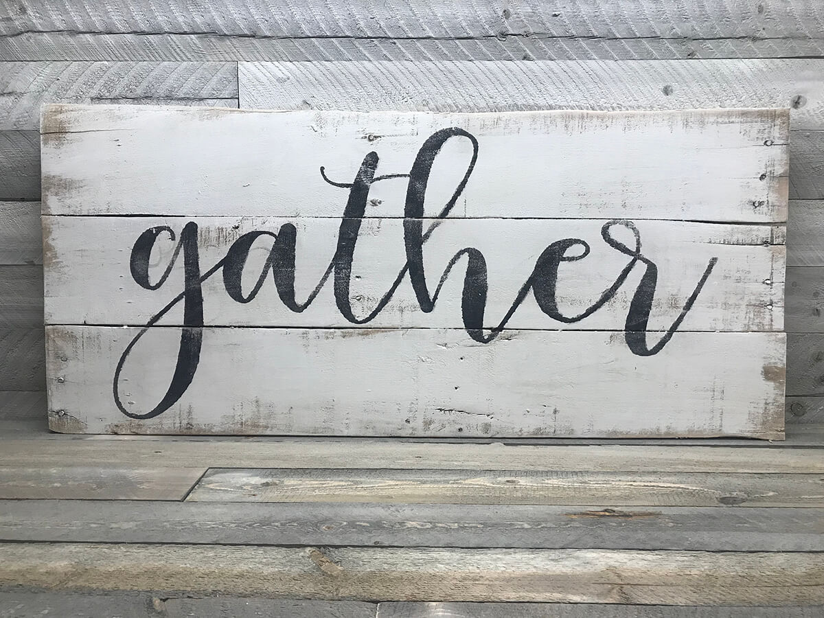 Distressed White Wash Gather Farmhouse Wall Art Sign