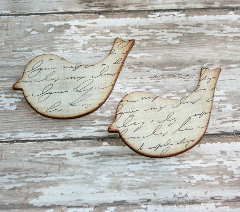 Set of Two Wooden Cut Out Twitter Birds