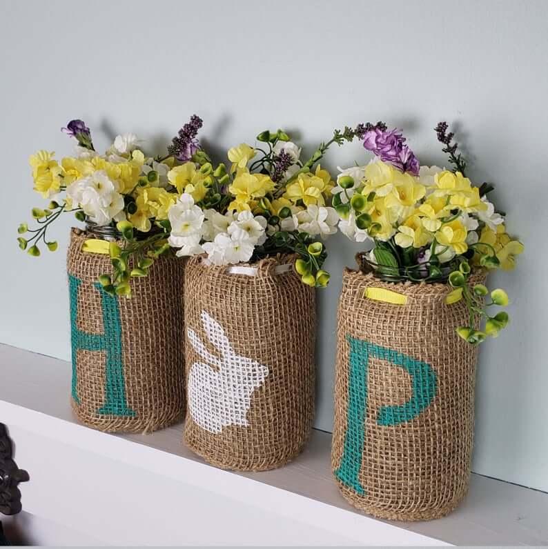 """Hop"" Easter Bunny Floral Mason Jar"