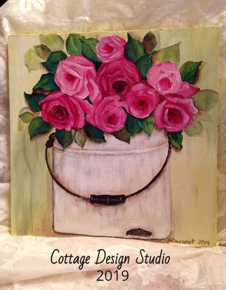 Vintage Old White Pail with Pink Fuschia Rose Bunch Print