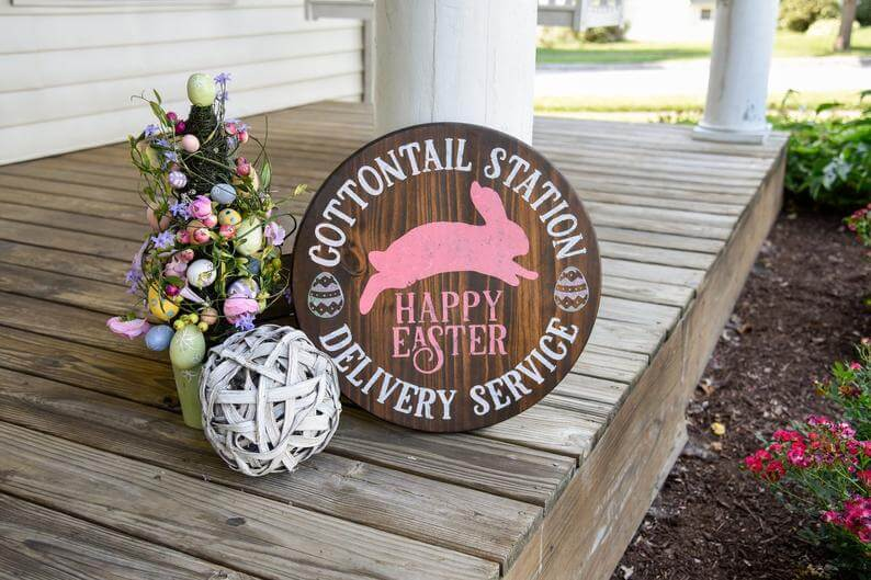 Cottontail Station Delivery Service Wooden Easter Sign