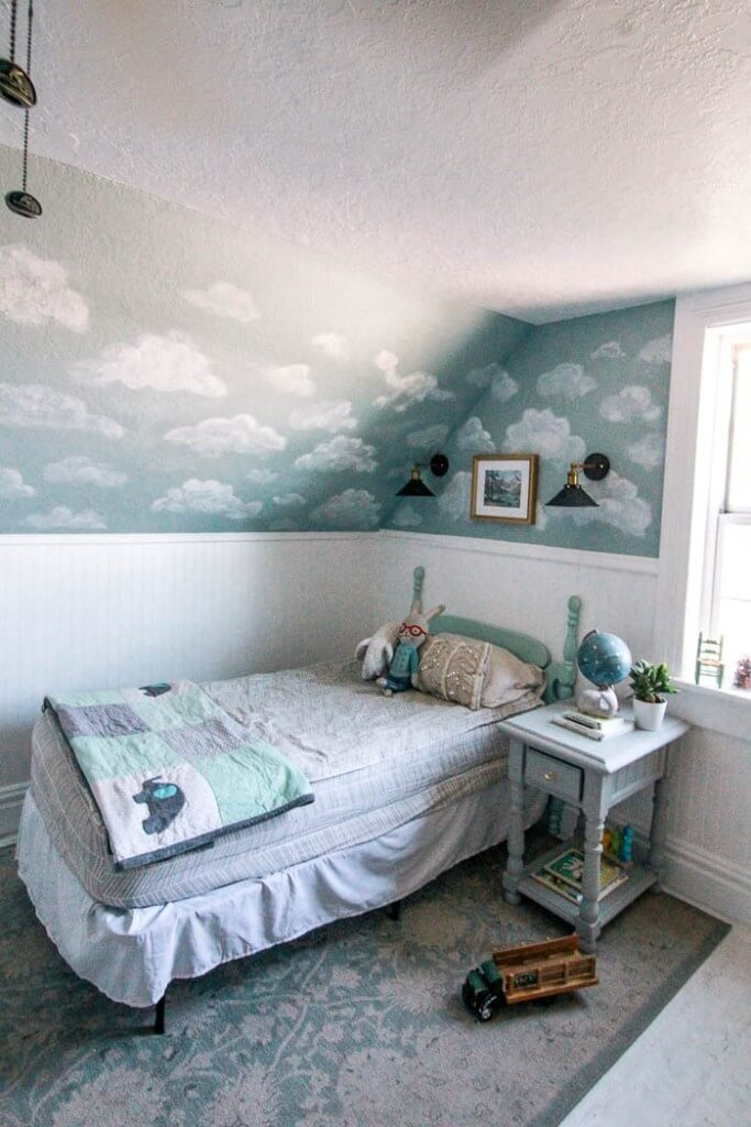 Vintage Blue Gray Sky with Cumulus Clouds Mural