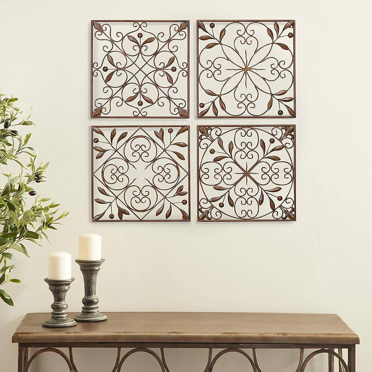 Intricate Design Metal Wall Art Tiles