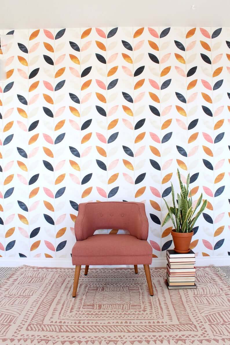 Leaf on Vine Scandinavian Design Interesting Wall Mural