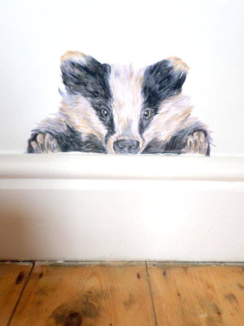 Bashful Eye Peeking Black and White Skunk Wall Art Mural