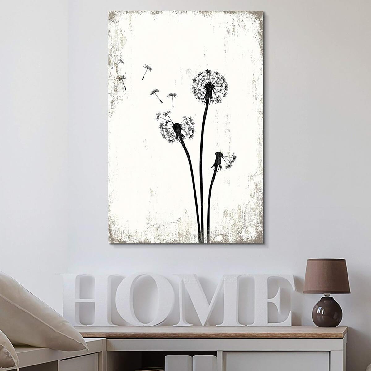 Make a Wish Breezy Dandelions Vintage White Print