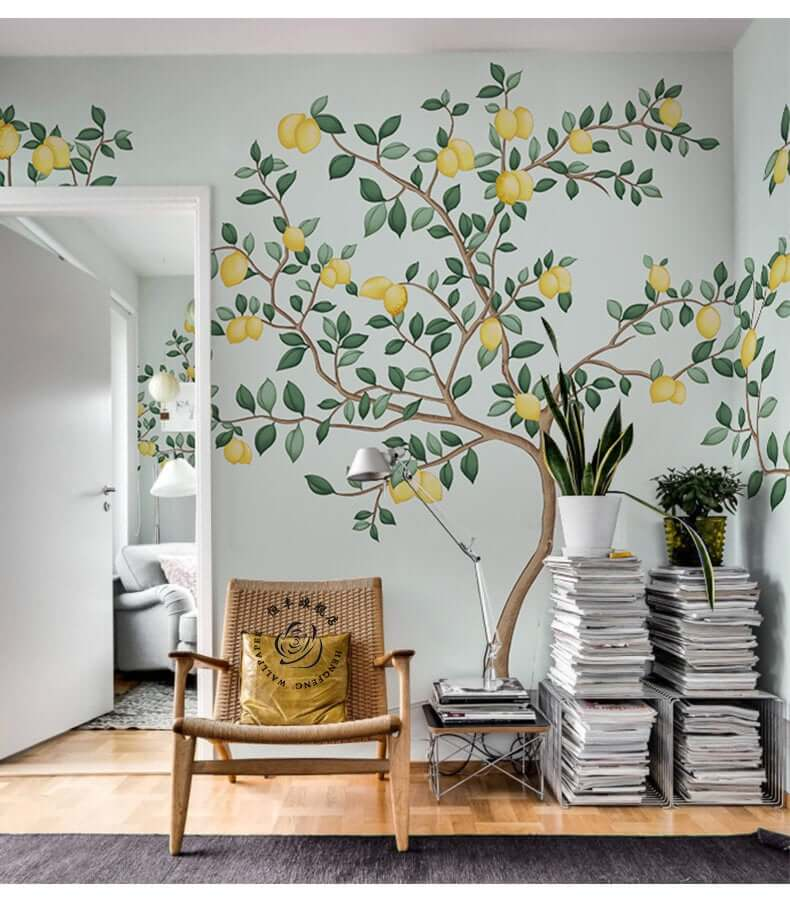 Vibrant Yellow Lemon Tree Wall Mural Decor