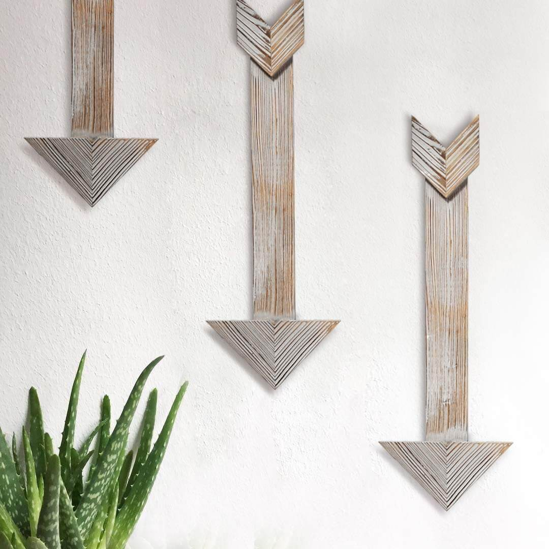 White and Wood Arrow 3 Piece Set Wall Artwork