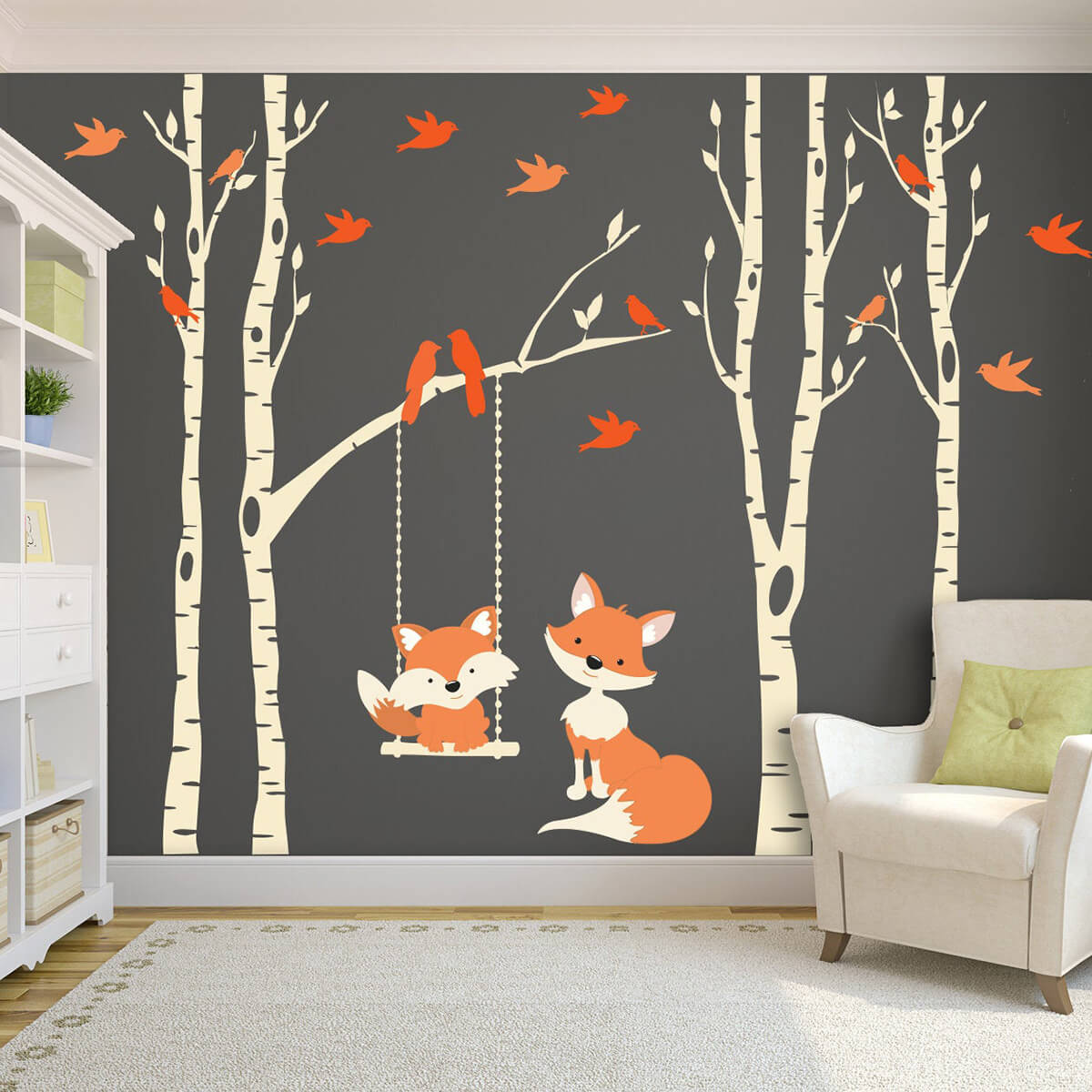 Swinging Fox with Birds on Birches Wall Mural Artwork