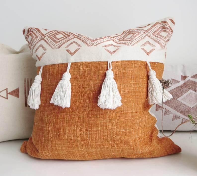 Tasseled Boho Pillow with Southwestern Block Print