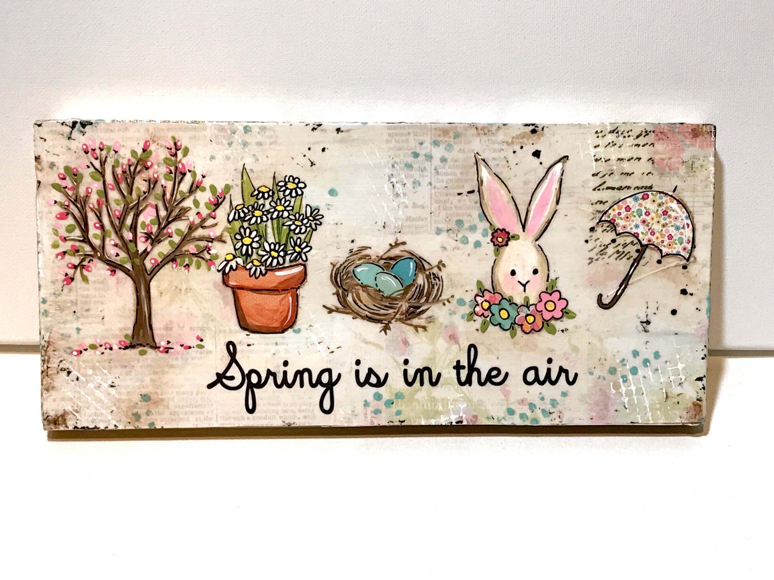 Mixed Media Farmhouse Spring Decor Sign