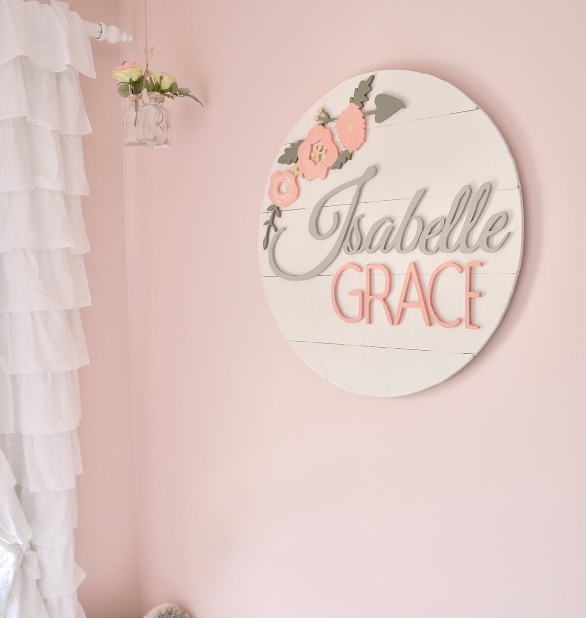 Round White Shiplap Floral Nursery Sign
