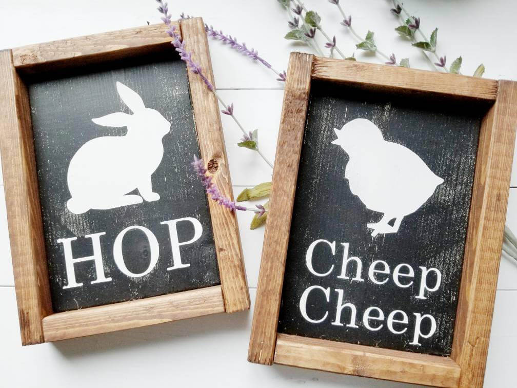 Farmhouse Style Framed Bunny and Chick Signs