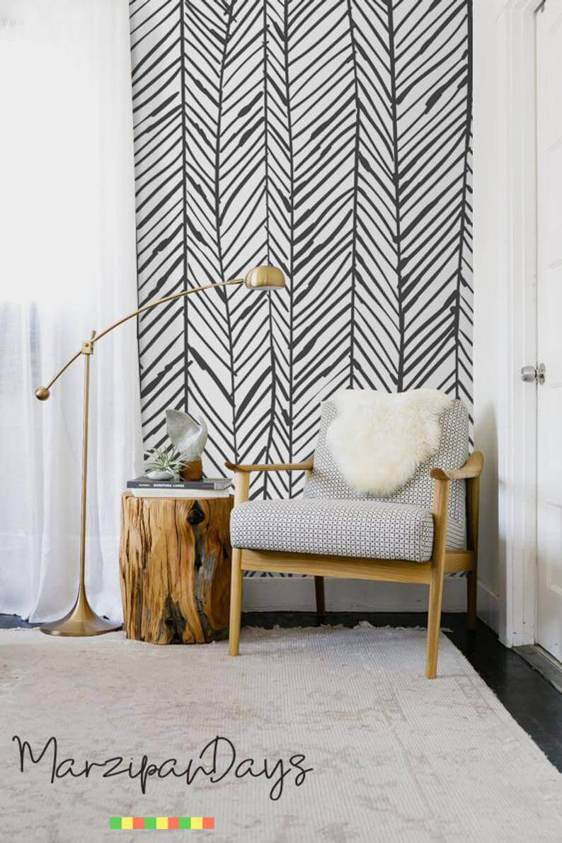 Herringbone Hand Drawn Zebra Printed Black and White Mural