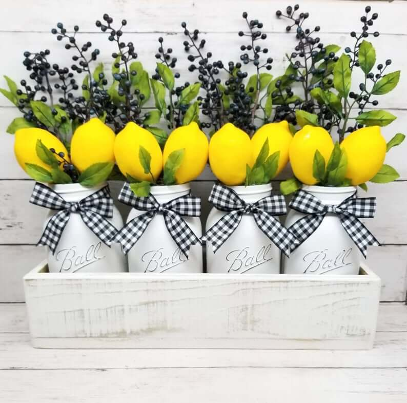 Black and White Plaid with Lemon Jars