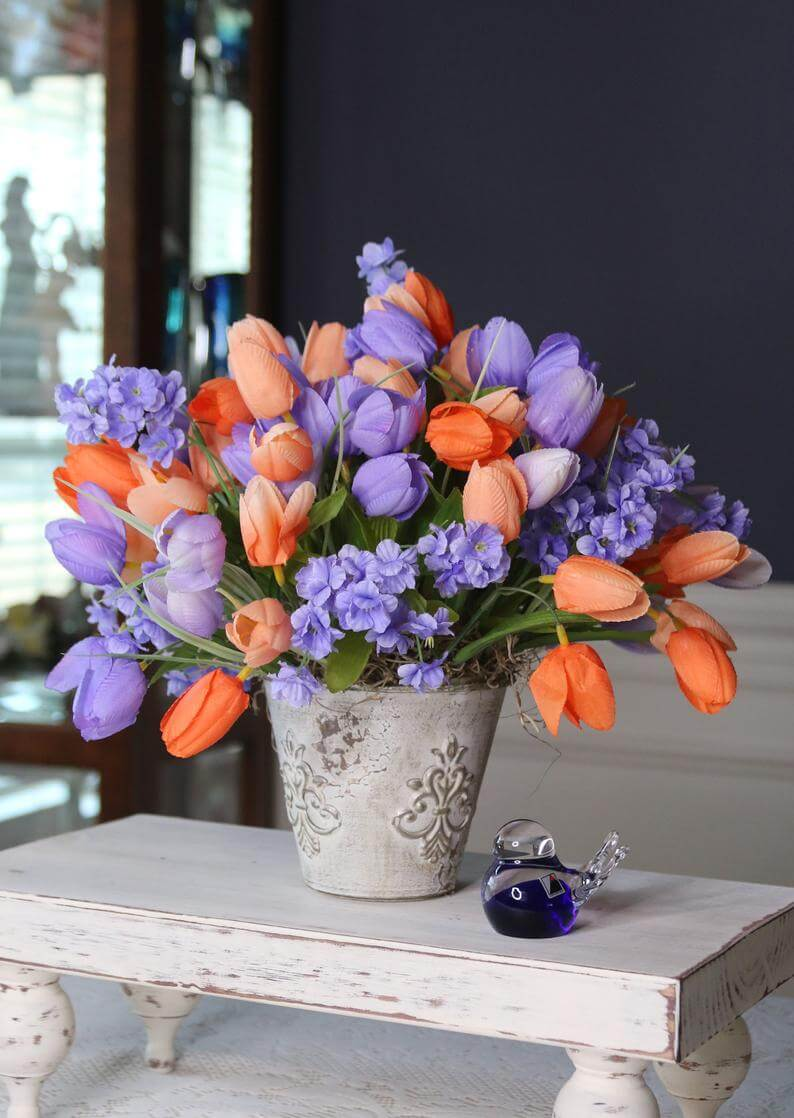 Lavender and Coral Graceful Flower Centerpiece