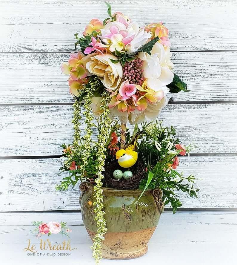 Chirping Birds Spring Topiary Ceramic Plant Pot