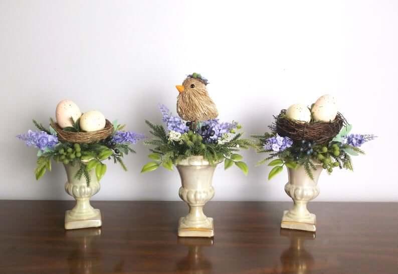 Beautiful Bird Set of Nests on Pedestals
