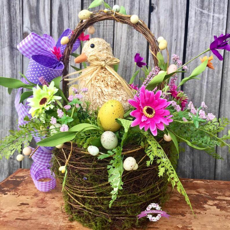 Decorative Mossy and Pastel Easter Basket