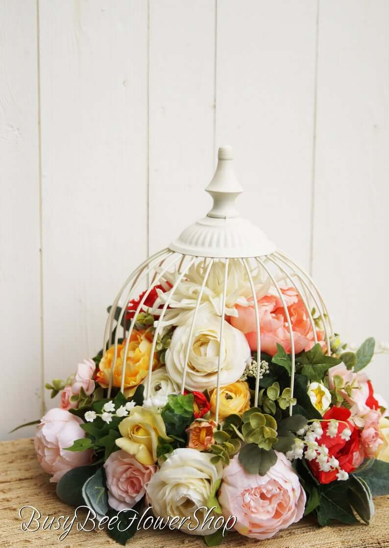 Full of Flower Buds Stuffed Birdcage Cloches