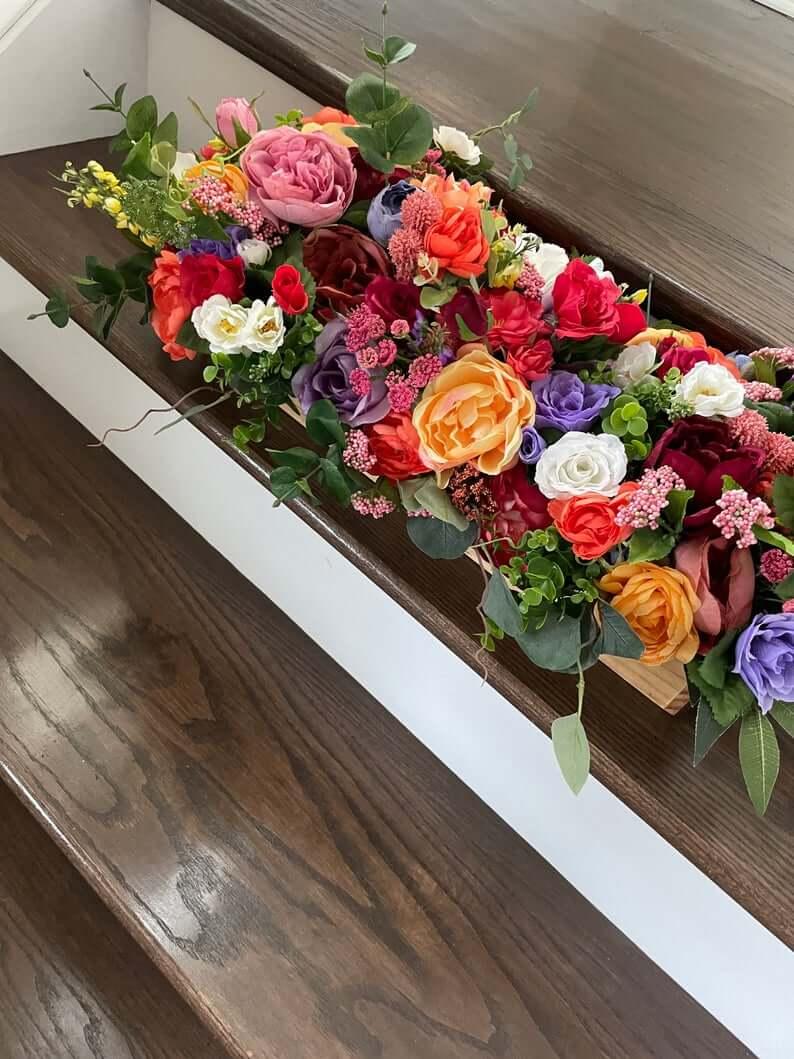 Overstuffed Floral Wooden Window Box