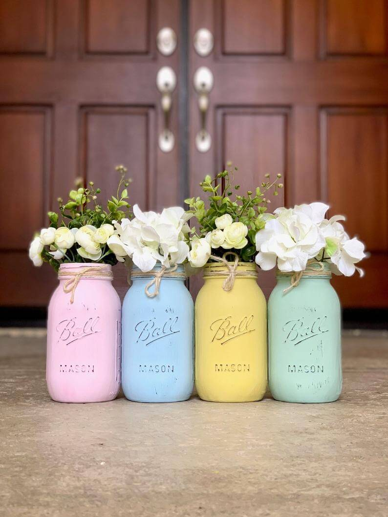 Pastel Easter Colored Painted Mason Jar