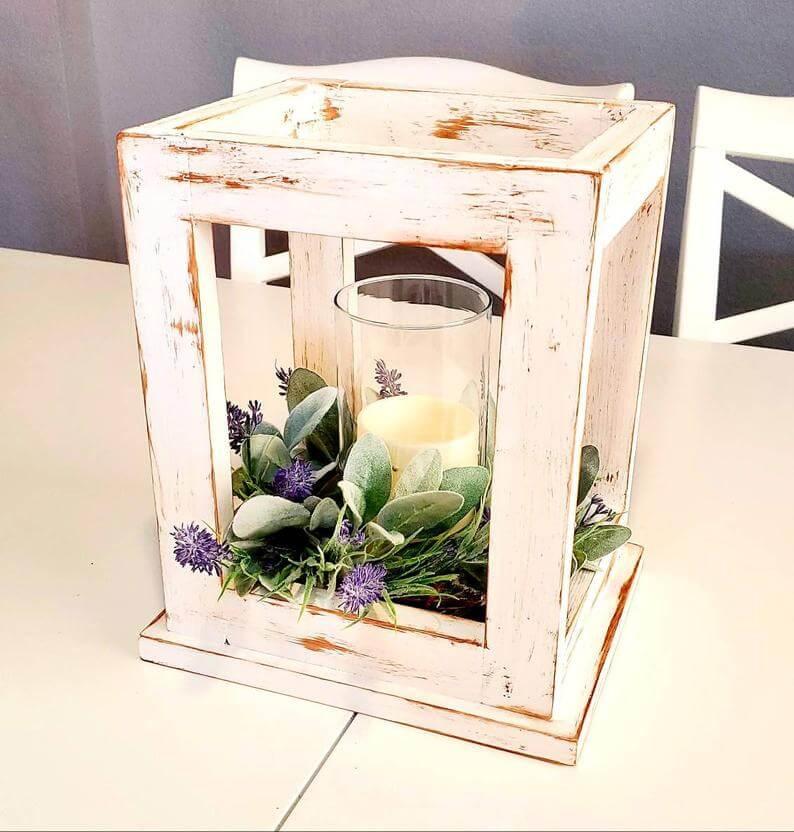 Distressed White Wooden Lantern Centerpiece