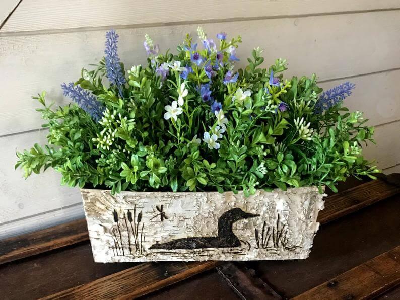 Greenery and Purple Hyacinth Serene Duck Centerpiece