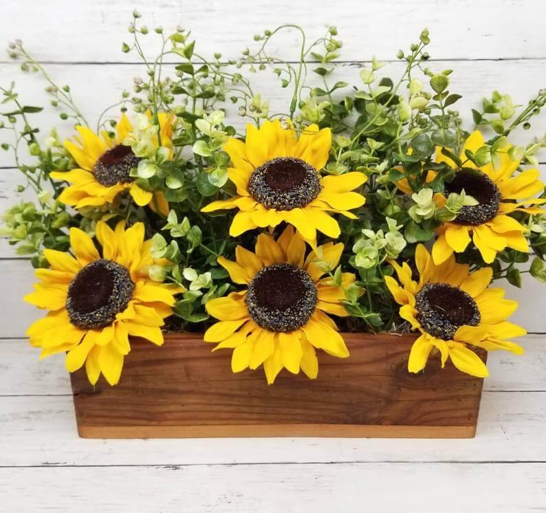 Splendid Six Sunflowers Filled Wooden Box