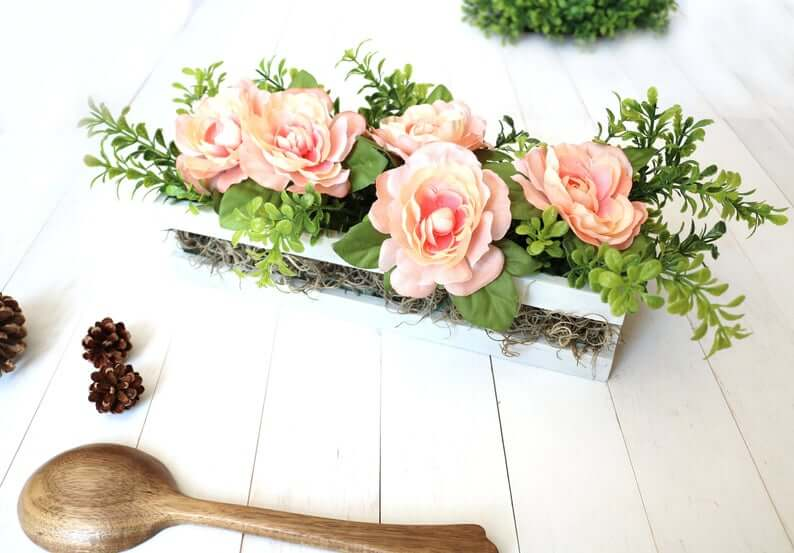 Simple Pink and Peat Moss Crate Basket