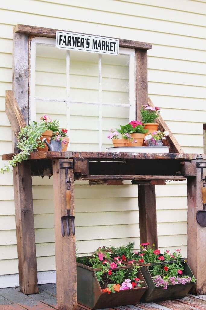 DIY Reclaimed Wood Potting Bench