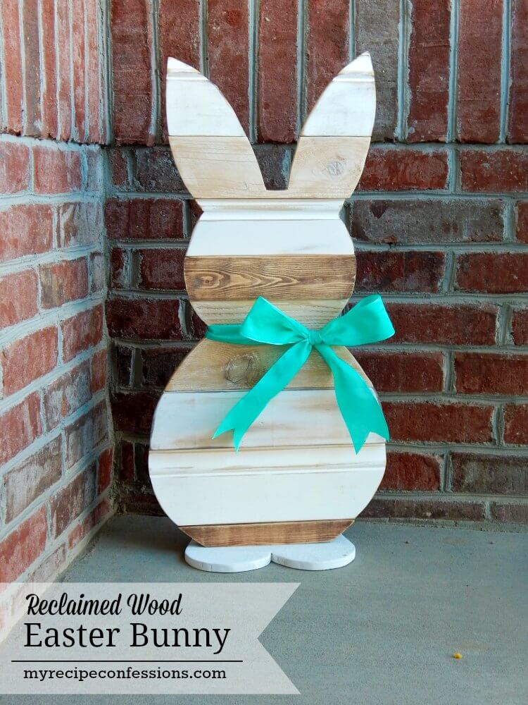 Standing Wooden Bunny Cut-out with Ribbon