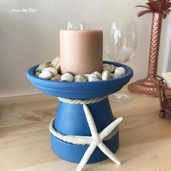 Coastal Inspired Candle Holder with Seashell Embellishments
