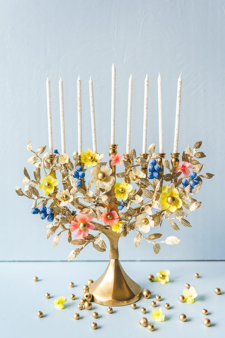 Menorah with Beaded Paper Flowers