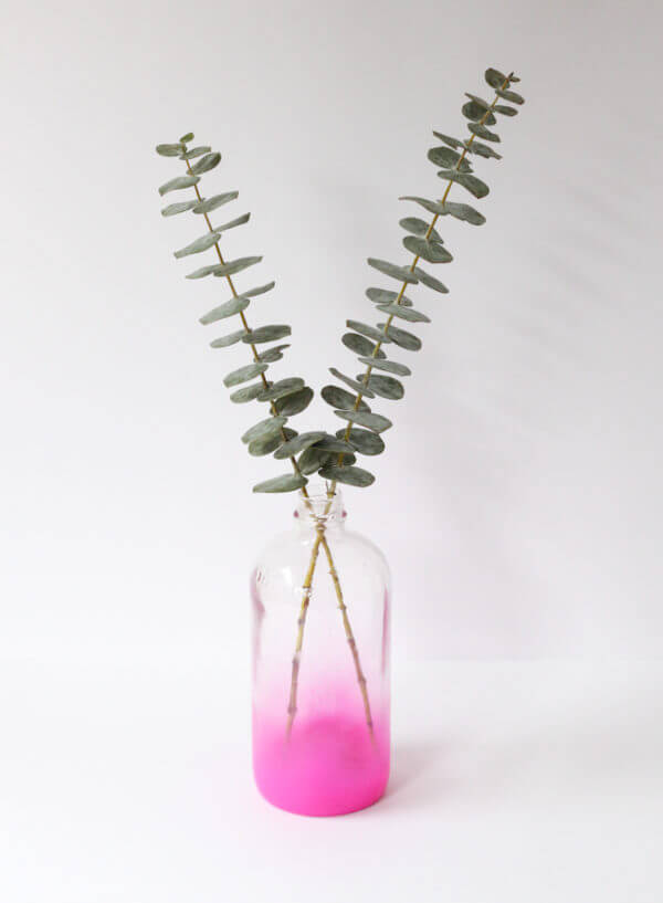 Cute Pink Painted Bottle Vase
