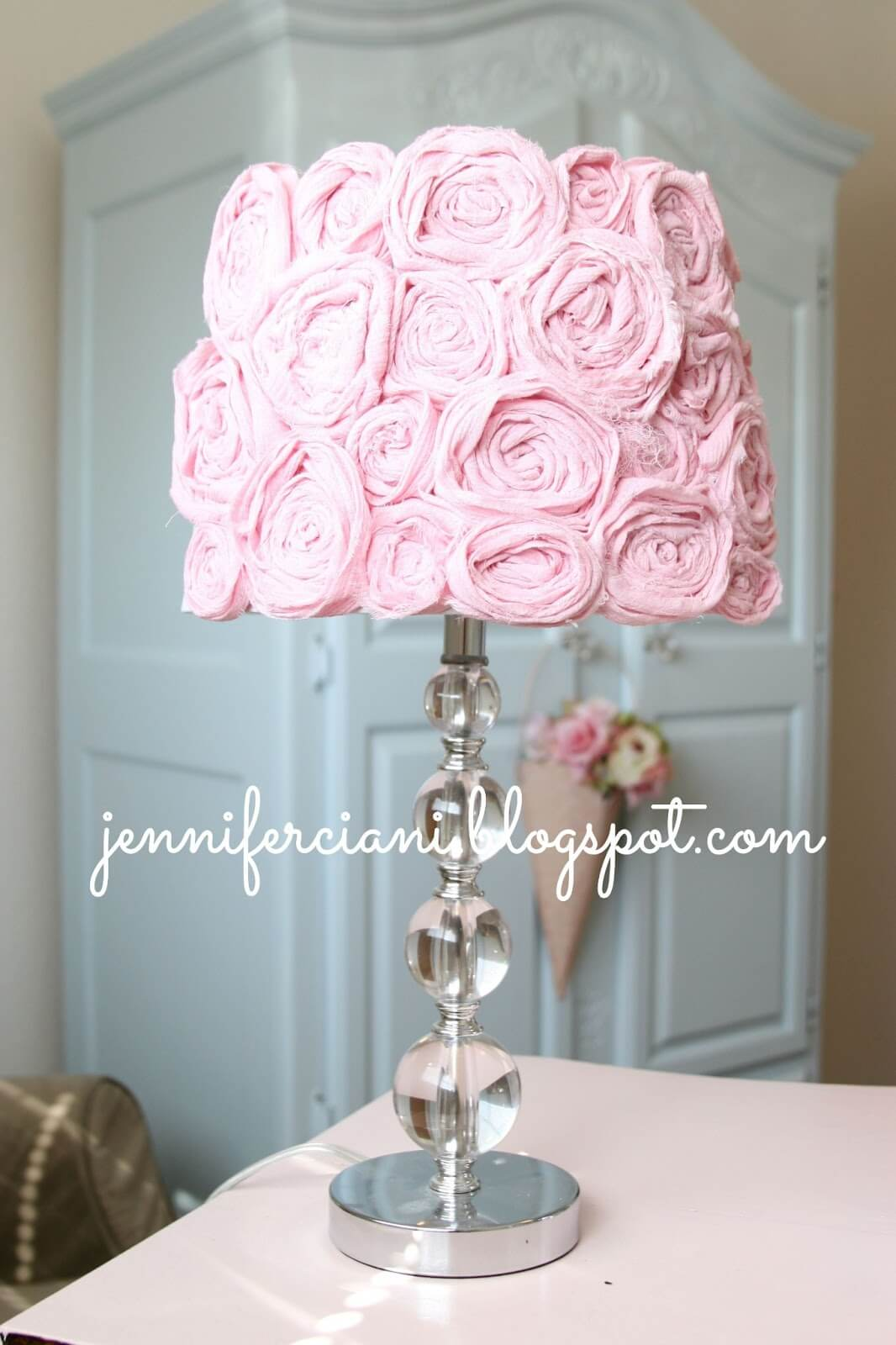 Pretty in Pink Lampshade with Rosettes