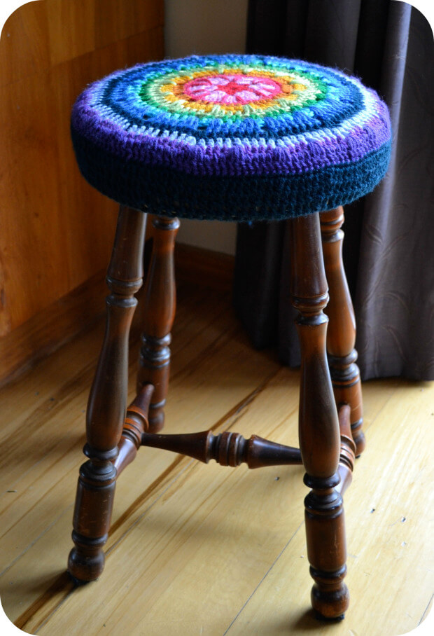 Brightly Colored Crochet Chair Cover