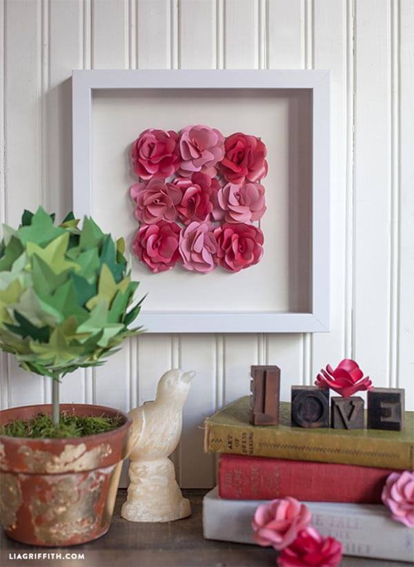 Framed Artwork of Paper Roses