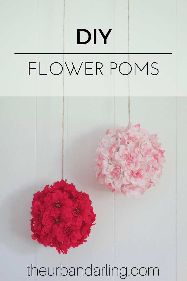 Hanging Poms with Silk Flowers