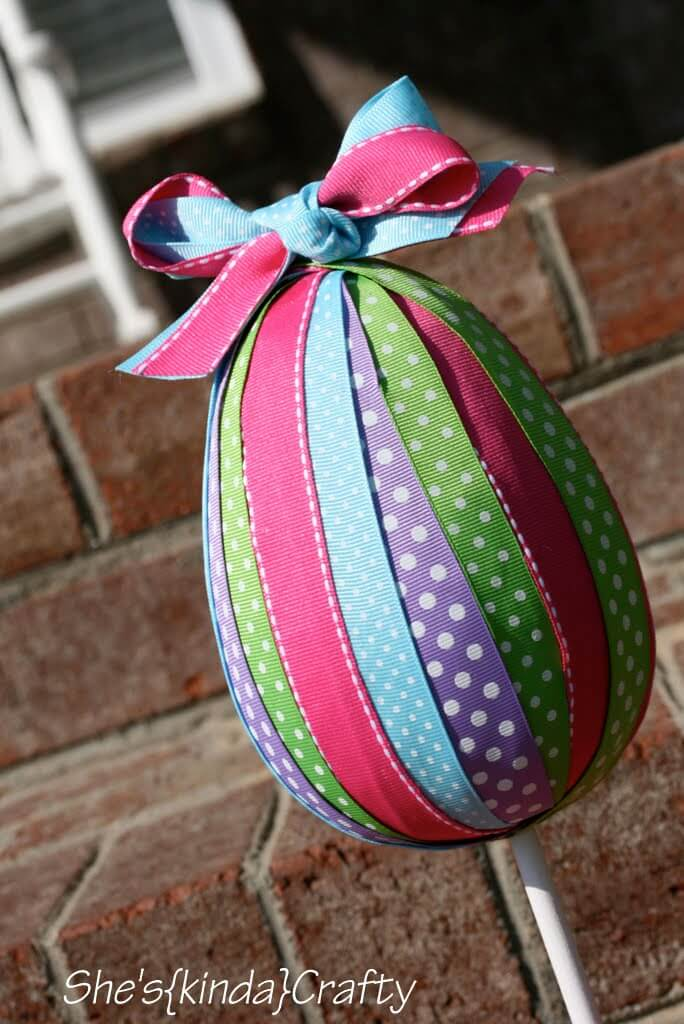 Pastel and Polka Dot Grosgrain Ribbon Egg Yard Decoration