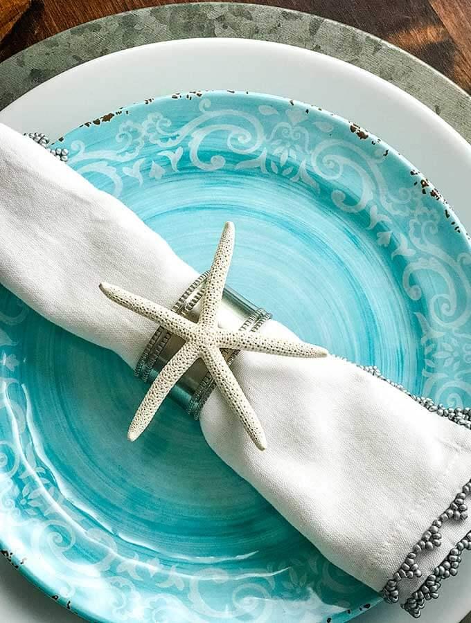 Coastal Dining Decor Starfish Napkin Ring