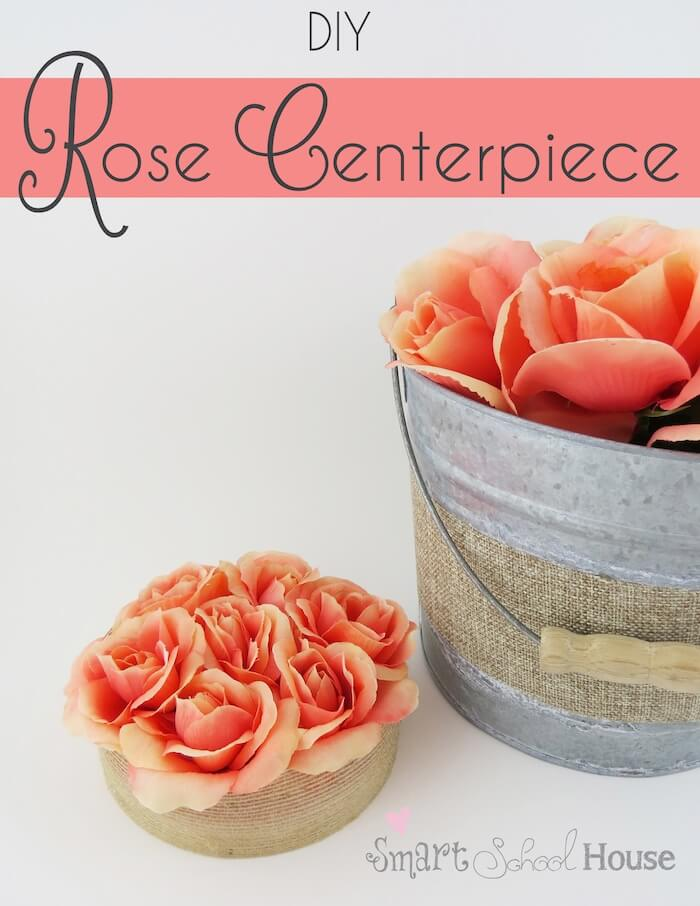 Centerpiece Made with Silk Roses and Burlap