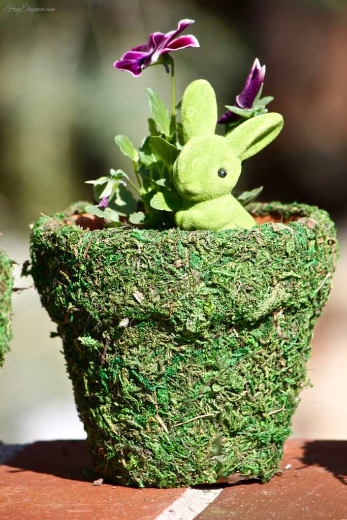 Moss Covered Pot with Little Bunny and Pansies