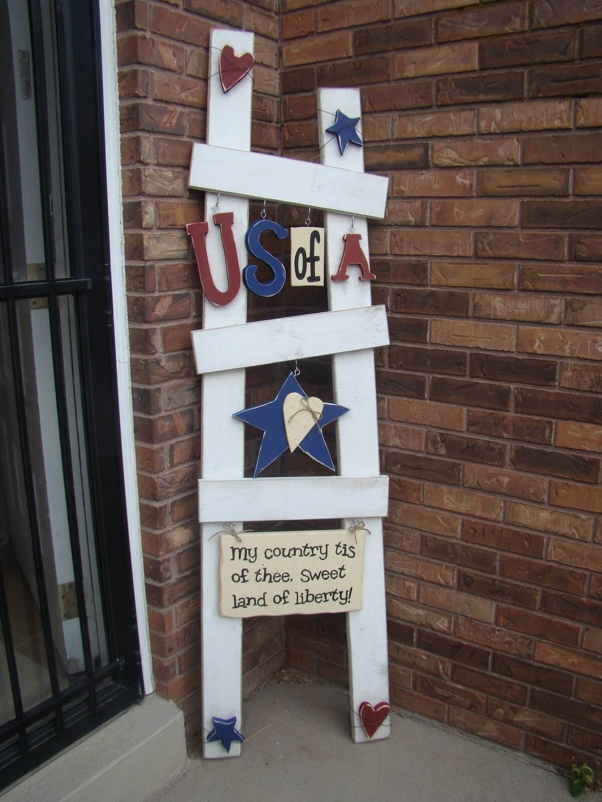 Wooden Ladder Signs with Painted Cutouts