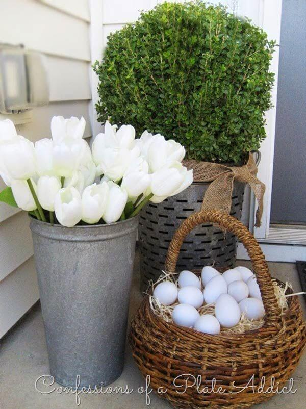 Grouping of 3 Plant and Egg Display