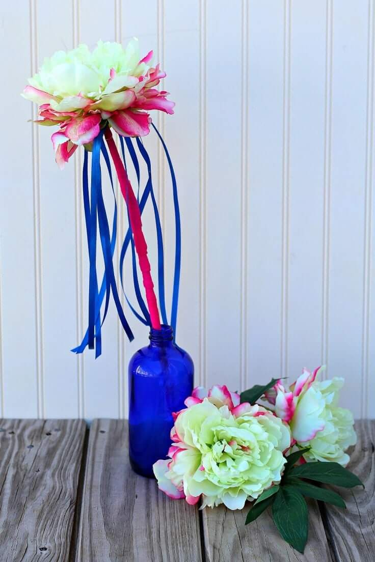 Red and White Peonies with Blue Ribbons